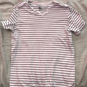 Horizontal stripped V neck shirt